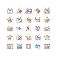 conjunto de ícones de cores rgb do programa de tv vetor