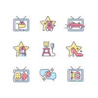 conjunto de ícones de cores rgb do programa de televisão vetor