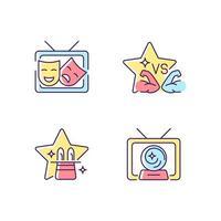 conjunto de ícones de cores rgb de gêneros programas de tv vetor