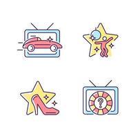 conjunto de ícones de cores rgb de gêneros tv vetor