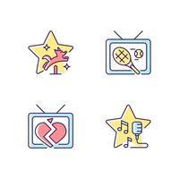 conjunto de ícones de cores rgb de gêneros de séries de televisão vetor