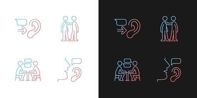 ícones de gradiente de comunicação verbal e não verbal definidos para o modo claro e escuro vetor