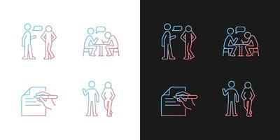 compreensão em ícones de gradiente de comunicação definidos para modo escuro e claro vetor