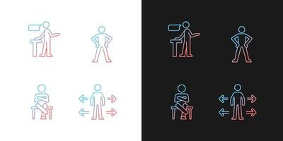 ícones de gradiente de habilidades de comunicação definidos para o modo claro e escuro vetor