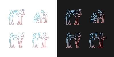 comunicação eficaz de ícones de gradiente definidos para o modo claro e escuro vetor