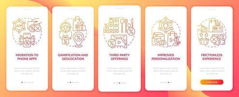 tendências dos programas de fidelidade gradiente vermelho na tela da página do aplicativo para dispositivos móveis vetor