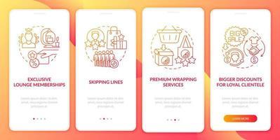 o programa de fidelidade dá vantagens na tela da página do aplicativo para dispositivos móveis com gradiente vermelho vetor