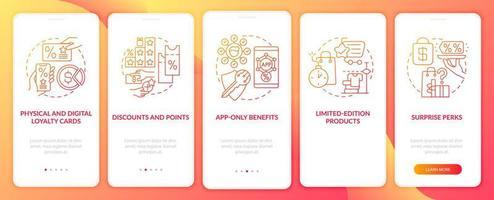tela da página do aplicativo de integração gradiente vermelho do programa de fidelidade de supermercado vetor