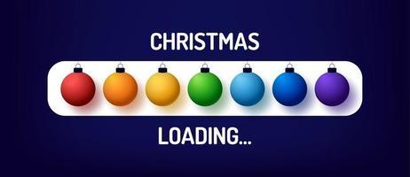 barra de progresso de arco-íris de natal com inscrição - carregamento de natal e bola decorada em estilo realista. desenho de ilustração vetorial, cartaz, cartão de felicitações, decoração de ano novo vetor