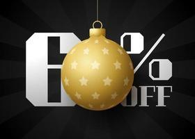 banner de grande venda de feliz Natal. venda de natal de luxo com 60% de desconto no modelo de banner real preto com bola dourada decorada pendurada em um fio. feliz ano novo e ilustração vetorial de natal vetor