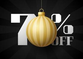 banner de grande venda de feliz Natal. venda de natal de luxo com 70% de desconto no modelo de banner real preto com bola dourada decorada pendurada em um fio. feliz ano novo e ilustração vetorial de natal vetor