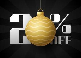 banner de grande venda de feliz Natal. venda de natal de luxo com 20% de desconto no modelo de banner real preto com bola dourada decorada pendurada em um fio. feliz ano novo e ilustração vetorial de natal vetor
