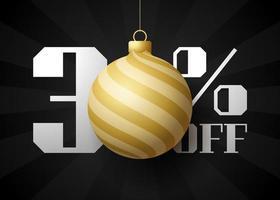 banner de grande venda de feliz Natal. venda de natal de luxo com 30% de desconto no modelo de banner real preto com bola dourada decorada pendurada em um fio. feliz ano novo e ilustração vetorial de natal vetor