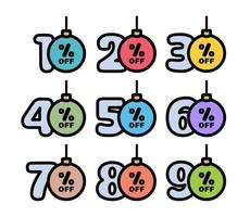 conjunto de etiquetas de desconto 10,20,30,40,50,60,70,80,90% em forma de bolas de natal em cores tradicionais. oferta de desconto de férias de inverno. ilustração vetorial vetor