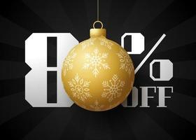 banner de grande venda de feliz Natal. venda de natal de luxo com 80% de desconto no modelo de banner real preto com bola dourada decorada pendurada em um fio. feliz ano novo e ilustração vetorial de natal vetor