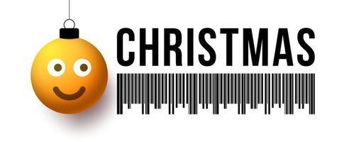 bola amarela de feliz Natal com cartão de venda de saudação de rosto bonito. ilustração em vetor de código de barras de desconto de natal com bugiganga de rosto sorridente
