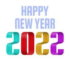 2022 cartão de saudação de fonte de fita de feliz ano novo. design de ano novo e Natal para calendário, cartões ou impressão. fundos modernos de design minimalista. vetor