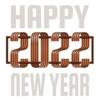 2022 cartão de saudação fonte ouro fita de feliz ano novo. design de ano novo e Natal para calendário, cartões ou impressão. fundos modernos de design minimalista. vetor