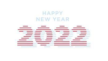 2022 feliz ano novo. números estilo minimalista. números lineares do vetor. design de ano novo e Natal para calendário, cartões ou impressão. vetor