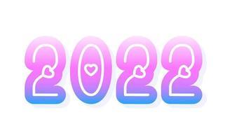 2022 amo ilustração vetorial de ano novo. dia dos namorados 2022 fundo do conceito da fonte 3d dos desenhos animados do coração. ilustração vetorial. vetor