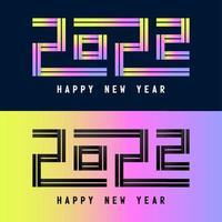 feliz ano novo de 2022. número holográfico 2022, holograma em negrito. design de ano novo e Natal para calendário, cartões ou impressão. cartão, cartaz festivo e banner. ilustração vetorial vetor