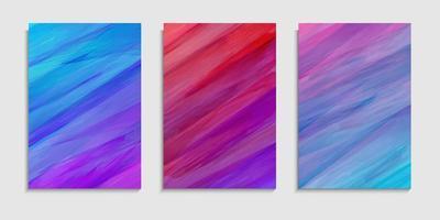 conjunto de modelo de capa de texturas de tinta aquarela com desenho colorido vetor