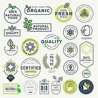 conjunto de etiquetas e adesivos para alimentos e bebidas orgânicos e produtos naturais vetor