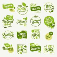 conjunto de sinais e elementos para alimentos e bebidas orgânicos e produtos naturais vetor
