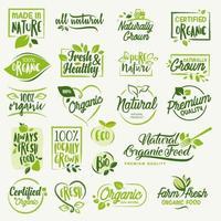 conjunto de adesivos e emblemas para alimentos e bebidas orgânicos e produtos naturais vetor