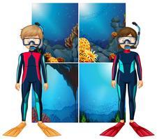 Mergulhadores e cena subaquática vetor