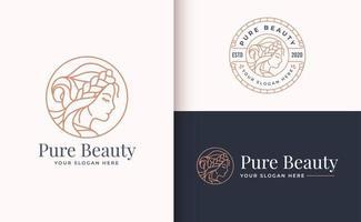 Design de logotipo de mulher de salão de beleza com emblema de círculo vetor