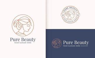 design de logotipo de mulher de beleza com emblema de círculo vetor