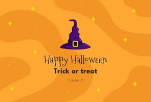 fundo de halloween com chapéu de bruxa vetor