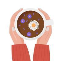 mãos femininas segurando uma xícara de chá vista de cima vetor