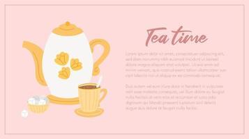 modelo de banner web hora do chá vetor