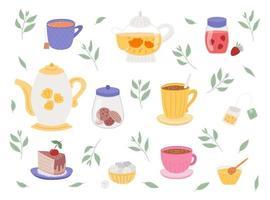 jogo de chá fofo com xícaras, potes e doces vetor