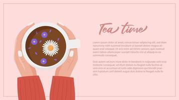 mãos segurando uma xícara de chá. modelo de banner da web vetor