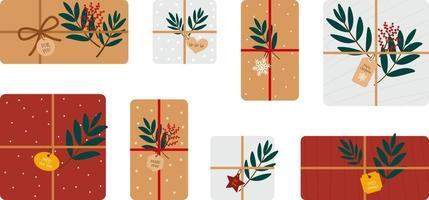 conjunto de caixas de presente para o natal e ano novo vetor