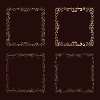 desenho vetorial de moldura de flor dourada vetor