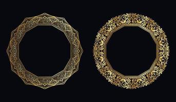 Conjunto de conceito de mandala dourada com moldura luxuosa vetor