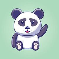 desenho animado bonito panda acenando vetor