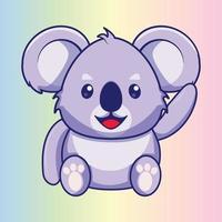desenho animado bonito coala acenando vetor