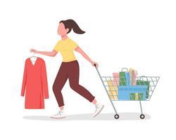 comprador com personagem de vetor de cor semi plana de carrinho de compras