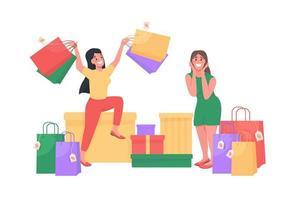 mulheres com sacolas de compras personagem de vetor de cor semi plana