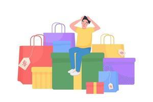 ilustração em vetor conceito plana férias compras