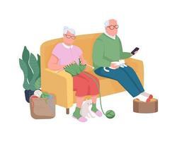 aposentados no sofá personagens vetoriais de cor semi-plana vetor