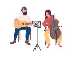músicos banda personagens vetoriais de cor semi-plana vetor