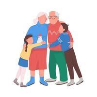 avós com crianças personagens vetoriais de cor semi-plana vetor