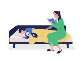 mãe lê personagens vetoriais de cor semi-plana para crianças vetor