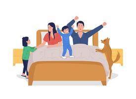 crianças acordando os pais personagens vetoriais de cor semi-plana vetor
